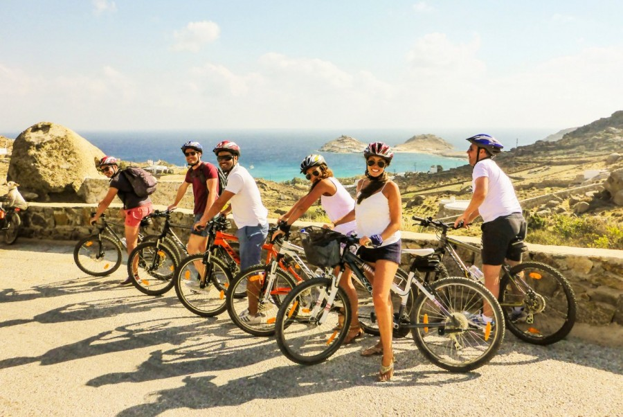Cycling with friends in Mykonos and discovering its authentic gems