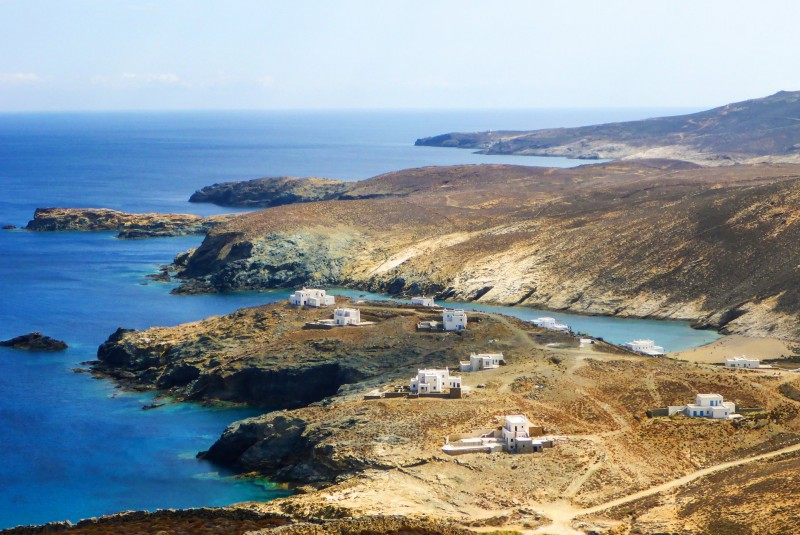 The wilderness of Mykonos' northern coastline as seen from Moroergo mountain